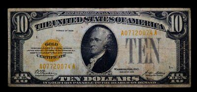 1928 $10 Gold Certificate Us Paper Money Note Very Good #0074A