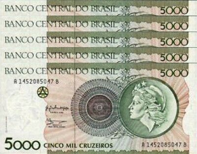 Brazil 5000 Cruzeiros 1990 Unc Consecutive 5 Pcs Lot P-227 Sign 28