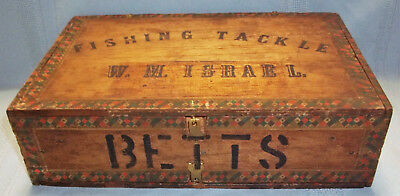 Folk Art Ma Belle Wooden Cigar Box Made Into Fishing Tackle Box For W. M. Israel