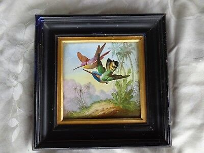 ANTIQUE VICTORIAN 19th CENTURY HAND PAINTED HUMMINGBIRD TILE PLAQUE PAINTING
