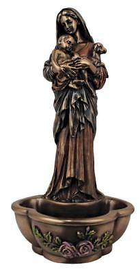 Madonna and Child Innocence Holy Water Font  Catholic  Prayer Bronze color room