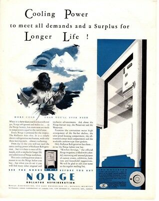 1932 Magazine Ad Norge Refrigerator Advertisment  A189