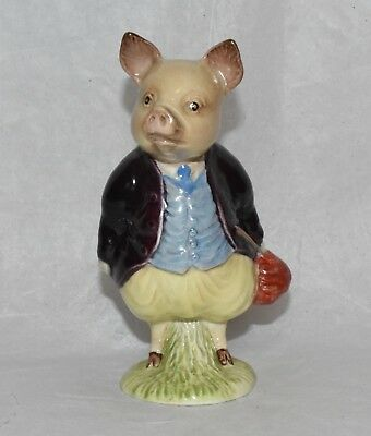 Vintage Beswick Beatrix Potter PIGLING BLAND Figurine BP2 Gold Oval First Issue