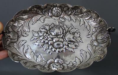 Small Antique 19thC Victorian German .812 Silver Floral Hand Repousse Bowl, NR