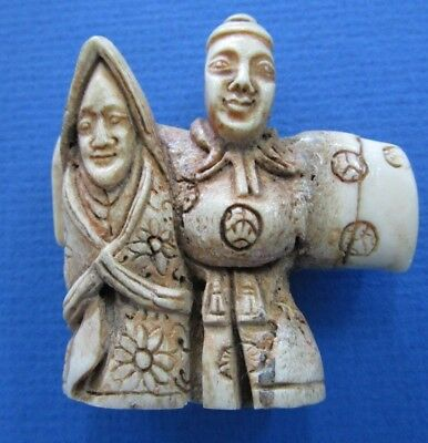 Netsuke Old MAN and WOMAN Statue From Deer Antler Carving