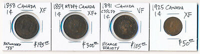 3 Canada Lrg Cents Scarce Issues + One 1925 Small Cent (Cv $650 Usd) > No Rsrv