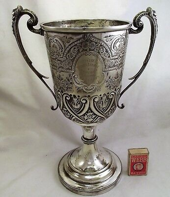 Large Ornate Victorian Silver Plated Trophy Cup - Finest Flower Exhibit