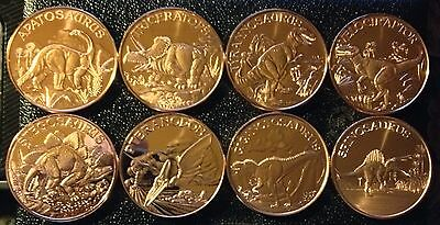 Lot Of 8 Different 1 Oz Prehistoric Dinosaur Copper Rounds