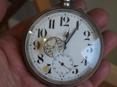 Antique J.c.vickers 8 Day Goliath  Pocket Watch