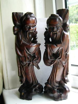 Pair Large Antique Chinese carved Padouk wood figures Chinese Lohan 19thC