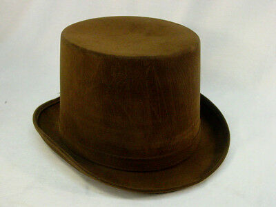 Men's distressed Brown Top Hat Steampunk One size Large/XLarge Unlined