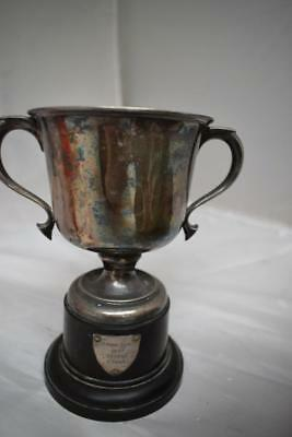 Hallmarked Solid SilverTrophy Cup Birmingham 1946 Presenter to C. Page in 1957
