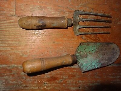 Vintage wood handled garden trowel and fork