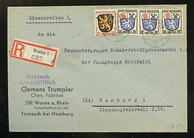 FRZ.ZONE Nr.6+9(3x) R-BRIEF CHEMIE WORMS 4.9.1946 nach HAMBURG (953169)