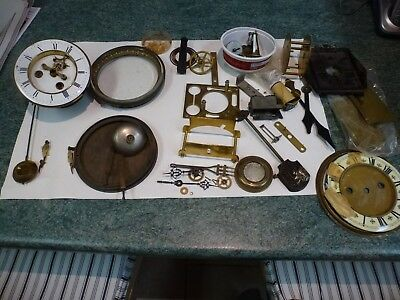 Vintage Mantel Clock Movement and other old clock parts.