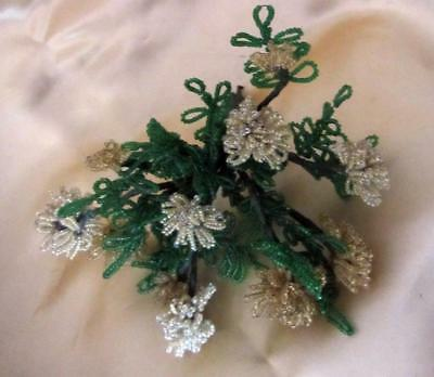 Vintage Gold Beaded Flowers - 11 Beaded Flowers with Greem Leaves     BOUQUET