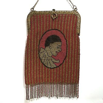 Antique Vintage Pierrot Harlequin Purse Figural Scenic French Bag Beaded