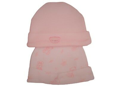 BNWT Tiny baby Premature Preemie pink  or blue cotton teddy bear hats