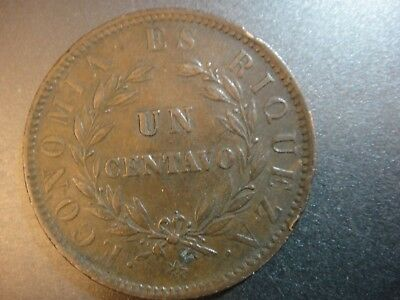 1853 Chile One Centavo. Coin Die Rotation. Very Fine to Extra Fine.