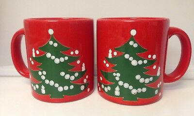 White Christmas In Germany.Waechtersbach Red Green White Christmas Tree Mugs W Germany Set Of 2