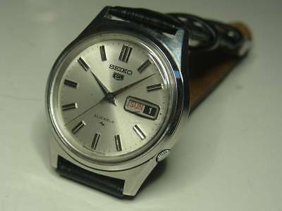 Seiko Five 5126-7010 Mens Watch Silver Dial Day-Date Vintage Rare Goods