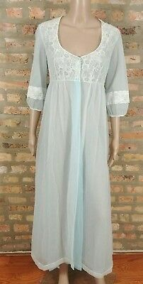 Vtg 60s Mint Ice Blue White Floral Lace Housecoat Peignoir Night Gown Robe S