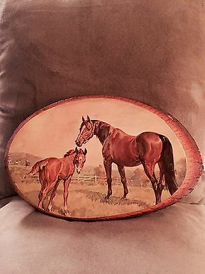Unique Amazing Picture Horse/Calf In Pasture On Carved Wood/High Gloss/Nice!