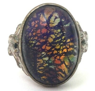 Vintage Ring Glass Cabochon Adjustable Size 7 Costume Jewelry