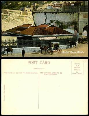 Gibraltar Old Colour Postcard Moorish Market Street Scene Horse Cart Gate Police