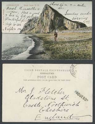 Gibraltar PAQUEBOT Old U.B. Postcard ROCK from N.E. North East, Soldier on Beach