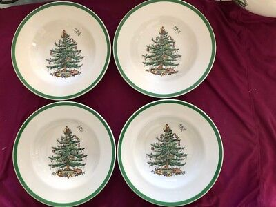 Spode Christmas Tree Made In England Rimmed Soup Bowls Set of 4