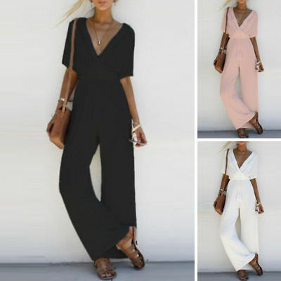 1x Women V Neck Loose Tunic Playsuit Party Romper Short Sleeve Long Jumpsuit