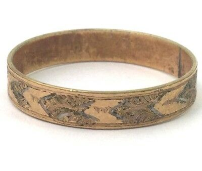 Vintage Antique Ring Band Wedding Ring Etched Size 10 1/4 Gold Plated Jewelry