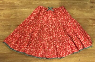 MINI BODEN Girls Red Floral Twirly Corduroy Skirt Velvet Trim Size 9-10Y