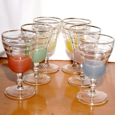 Set of Six Harlequin Sugar-Frosted Wine / Juice Glasses 1950s