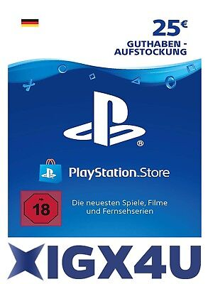 PSN Playstation Network Card Key 25€ 25 EUR EURO Prepaid Card - PS3 PS4 PSP - DE