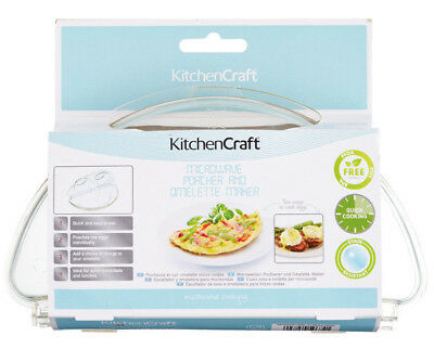 Kitchen Craft Microwave Cooking 2 Poached Egg Poacher & Omelette Maker