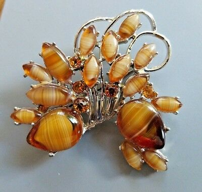 Vintage Jewellery Impressive silver Topaz & banded Agate glass brooch Exquisite
