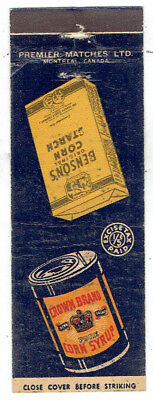 Canada Starch Crown Corn Syrup & Benson Starch Matchbook Cover with Excise Tax