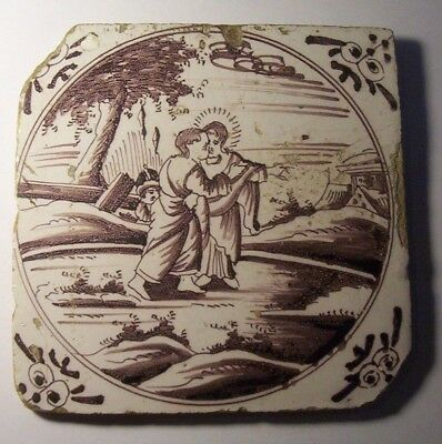 Delft Tile c. 18th / 19th century   (D 31 )  Judas and the kiss