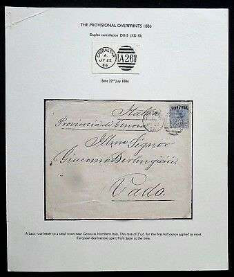 Gibraltar QV 1886 Cover to Italy. On exhibition sheet.Stamp O/printed on Bermuda