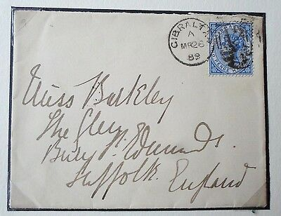 Gibraltar QV 1889 Cover to Suffolk  - Mounted on Exhibition sheet. 2 1/2d Stamp