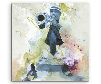 Jazz Player Cuba 60x60cm Aquarell Art Leinwandbild Old