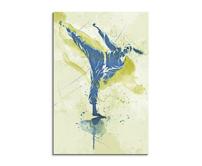 Karate 90x60cm SPORTBILDER Paul Sinus Art Splash Art Wandbild Aquarell Art