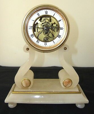 Lovely Antique 1800's French Farcot 8 Day Marble Swinging Cherub Mantel Clock