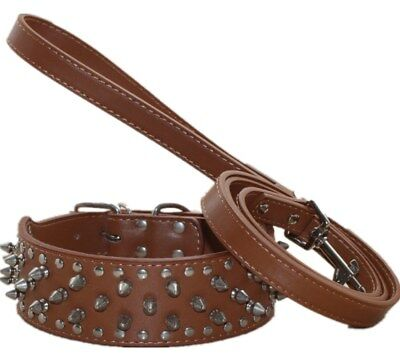 """2"""" Leather Spiked Studded Dog Collar Leash Set Pit Bull Husky Terrier M L XL"""