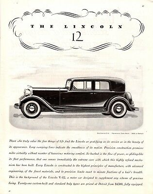 1932 Magazine Ad Lincoln V-12 Advertisment  A199