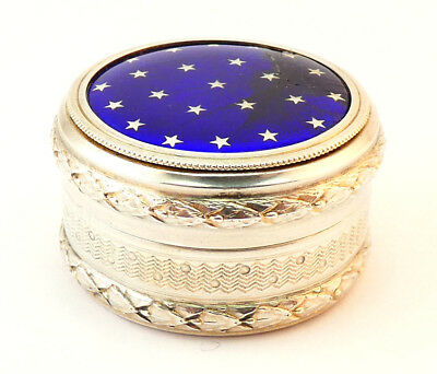 c1911, MAPPIN & WEBB, ANTIQUE SILVER GILT & GUILLOCHE ENAMEL PILL / TRINKET BOX