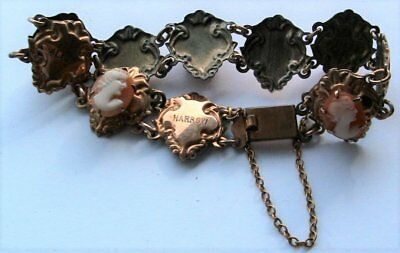 Good quality vintage 9ct gold on silver carved shell cameo bracelet 1954