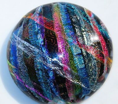 Dichroic Fused Art Glass Half Marble DOME Paperweight Free Standing Signed